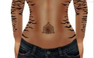 Funny Cat Tattoo On Stomach 13 Widescreen Wallpaper