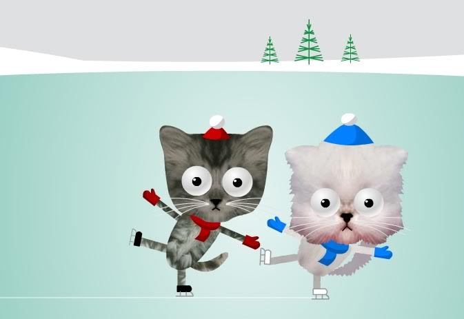 Funny Animated Cats 8 Free Wallpaper